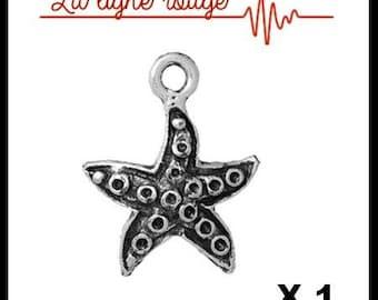 Vintage 18mm x 14mm silver sea star charm