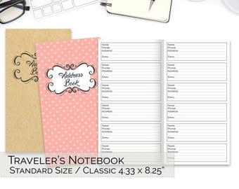 Address Book TN, Midori, Standard TN Inserts, Traveler's Notebook Printable Inserts, Business Contacts Page, Regular, PDF, Bullet Journal