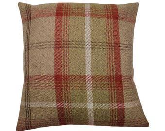 Balmoral Rust Checked Tartan Plaid Cushion Cover
