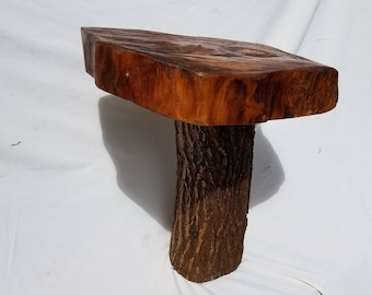 Wood slab table.