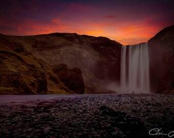 Skogafoss Photo - Iceland Waterfall Sunset- DIGITAL DOWNLOAD - Photography,waterfall,landscape,winter,sunset,mountain