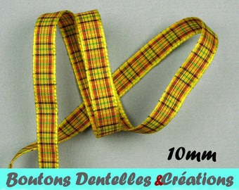 Mini yellow plaid Ribbon, 10mm, 5 m (GA-10-02)