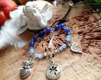 """Bracelet ange enfant petite filles """"you are my angel"""" en métal agates naturelles teintées bleues de angels signs"""