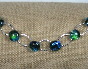 Dichroic Glass Link Bracelet - Silver Blue and Green