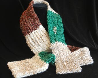 Texture and Color Hand Knit Scarf