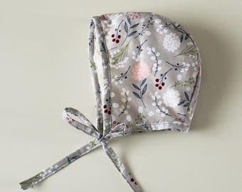 Grey Floral Newborn Baby and Toddler Bonnet, Baby Bonnets, Modern vintage style baby hat, Toddler bonnet