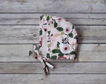 Pink Floral Baby Bonnet Bonnet   Baby bonnet   Baby shower gift   Baby hat   Bonnet   Newborn bonnet   Modern vintage   Toddler hat  