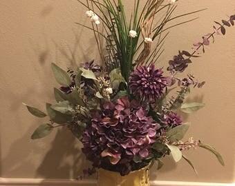 Floral Arrangement Home Decor Purple/Yellow