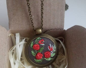 Embroidered pendant necklace Embroidery jewelry Flower wife jewelry Floral Red rose necklace Nature lover gift Eco pendant Ukrainian jewelry