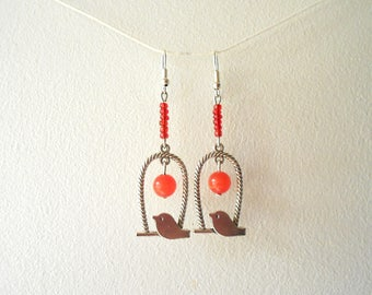 Fancy Red and Silver earrings
