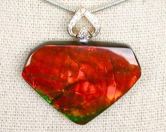 Ammolite Pendant, Bright Red