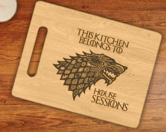 Personalized This Kitchen Belongs To House Custom Name Stark Engraved Cutting Board