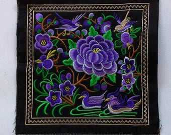 Purple Embroidered Hmong Fabric, Hmong Fabric Hill Tribe, Hmong Hill Tribe Embroidered, Thai Hill Tribe, Hmong Textile, Hill Tribe Handmade.