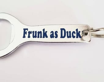 Frunk as duck bottle opener keyring great as a stocking filler or secret Santa gift great gift for him great for mancaves or christmas