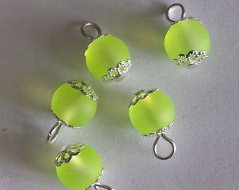 5 pendants 8mm Frosted Yellow glass beads