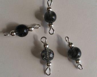 5 connectors 6mm black Crackle glass beads