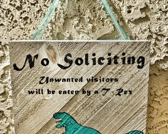 No Soliciting-Dinosaur