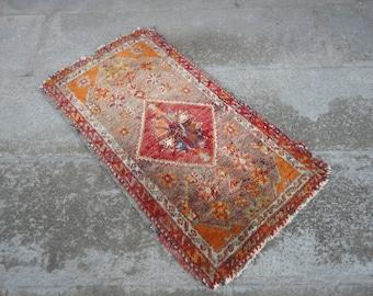 Antique rug FREE SHIPPING ! Door mat,entrance rug,shabby rug,outdoors rug,hand made Turkish rug,vintage rug,31'' x 17''