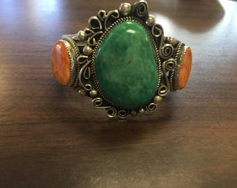 Navajo handmade sterling silver spiny oyster turquoise  bracelet