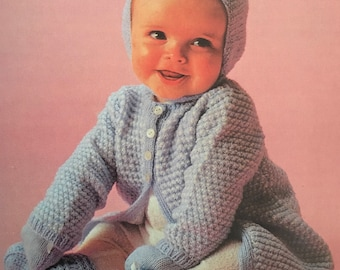 PDF Knit Baby Coat, Bonnet and Mittens