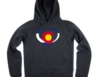 Colorado Heart - Colorado Flag Colors Hoodie