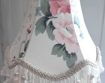 Vintage shabby chic ivory pink roses floral tassels table or ceiling lampshade