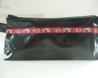 Kit in black oilcloth with pretty Ribbon # 2