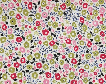 Cotton fabric small liberty type flowers pink/green