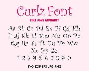 Curlz Font svg, Curlz font alphabet , For Silhouette EPS png jpg files. svg dxf for Silhouette Cameo or Cricut