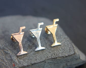 Cocktail drink Earrings silver-plated, gold-pink