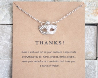 Thanks! Thank you thank you chain gilded or silver plated with card