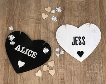 Personalised wooden heart with glitter letters