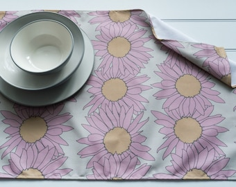 Tea Towel in Sunflower Pink Pattern Made from 100% Cotton