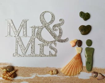 Handmade Wedding Gift, Cornish Pebble Art Picture, Mr & Mrs Unique Beach Design