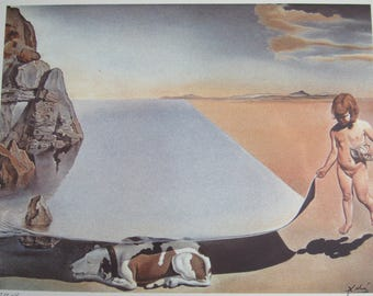 Salvador DALI (after) - Dali child lifting the skin of the water - signed in plate, numbered