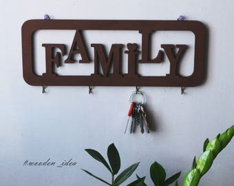 Housewarming wooden gift  Key hangers  Key rack  Key holders Entryway Organizer Wedding New House gift Family Name Signs anniversary gifts