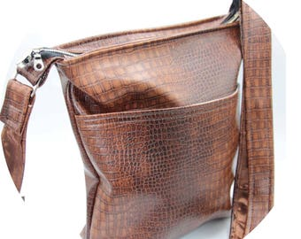 Crossbody Bag - Brown, Crocodile, Faux Leather, Handmade, Handcrafted