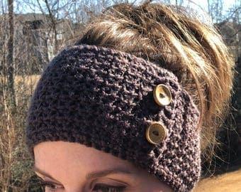 Crochet Headband with Buttons