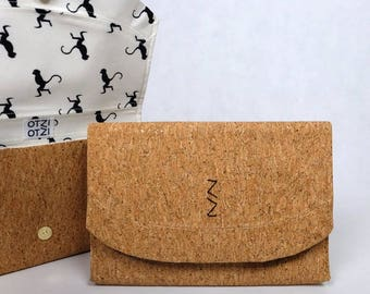 Clutch in glittery Cork - white lining with monkeys