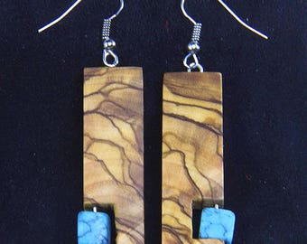 Wooden Earring, Olive Wood Earring, dangling, handmade earring, earring, natural earring, blue bead, turquoise, gifts for her