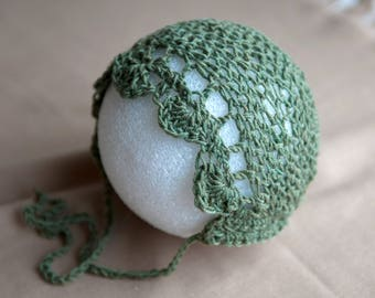 Green Baby Bonnet Newborn Hat Photography Prop Crochet