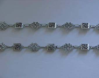 50cm silver chain antique flower and rectangle - Ref: CA 108