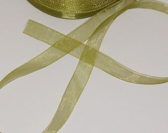 5 m 12mm transparent green organza Ribbon