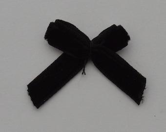 12 27x21x4mm black velvet Ribbon bows