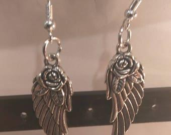 Rose Angel Wing Earrings