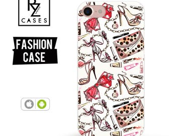 Fashion Phone Case, Girly Phone Case, iPhone 7 Case, Fashion illustration, Shoes, Lipstick, Bow Case, iphone 6, Gift for Her, Samsung Galaxy