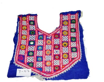 Beautiful Mirror Vintage Small Banjara Neck Yoke Embroidery Mirror Work Neck Yoke #07