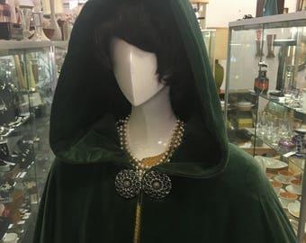 Vintage c1930s Green Velour Opera Cape Opera Coat - One Size - Art Deco Goth Medieval