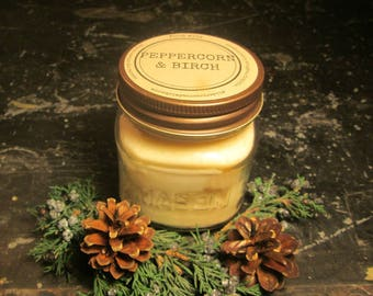 PEPPERCORN & BIRCH // Soy Candle // Wood Wick // Mason Jar // Fall // Winter // Fireplace // Man