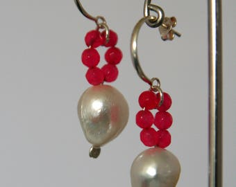 Earrings, freshwater pearls metgekleurd jade and silver ear with Poussettevlinder